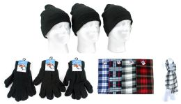 180 Bulk Adult Beanie Knit Hats, Magic Gloves, And Checkered Scarves Combo Packs