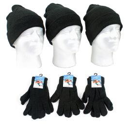 120 Bulk Adult Beanie Knit Hats And Magic Gloves Combo Packs