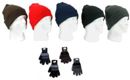 120 Bulk Cuffed Winter Knit Hats And Knit Gloves Combo Packs