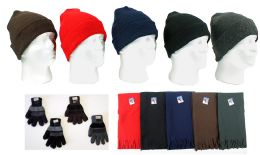 180 Bulk Cuffed Winter Knit Hats, Men's Knit Gloves, And Assorted Scarves