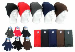180 Bulk Adult Beanie Knit Hats, Magic Gloves, And Solid Scarves Combo Packs