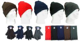 180 Bulk Cuffed Winter Knit Hats, Men's Fleece Gloves, And Assorted Scarves