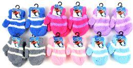 60 Bulk Baby Fuzzy Mittens - Striped