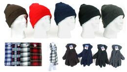 180 Bulk Cuffed Winter Hats, Fleece Gloves, And Checkered Scarves Combo Packs