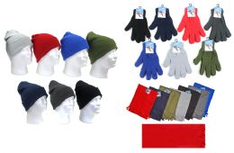 180 Bulk Adult Winter Knit Hats, Magic Stretch Gloves & Solid Scarves