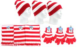 180 Bulk Christmas Striped Beanie Knit Hats, Magic Gloves, & Scarves