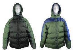 12 Bulk Men's Winter Bubble Ski Jackets W/ Detachable Hood - Choose Your Color(s)