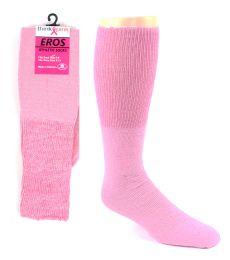 48 Bulk Pink Football Socks For 3787 - Kid's Size 6-8
