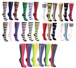 120 Bulk Women's Knee High Novelty Socks - Assorted Styles - Size 9-11