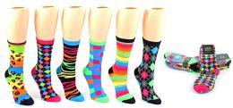 24 Bulk Women's Novelty Crew Socks - Neon Prints - Size 9-11