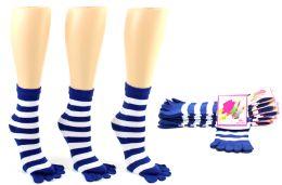 24 Bulk Women's Toe Socks - Blue & White Striped Print - Size 9-11