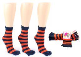 24 Bulk Women's Toe Socks - Blue & Orange Striped Print - Size 9-11