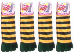 24 Bulk Women's Toe Socks - Green & Gold Striped Print - Size 9-11