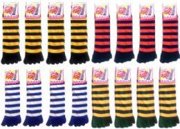 120 Bulk Women's Striped Toe Socks Mega Mix (size 9 - 11)