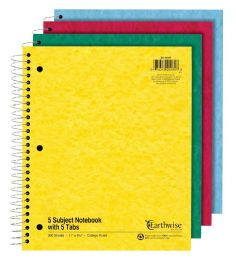 24 Bulk Tops Earthwise By Ampad 5 Subject Notebooks With Tabs, 11 X 8.875, Assorted, 15lb. Paper