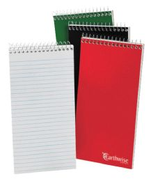 12 Bulk Tops Earthwise By Ampad Reporter's Notebook, 4 X 8, White, Pitman Rule, 70 Sh/bk, 3 Bk/pk