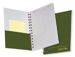 "36 Bulk Tops Gold Fibre Personal Notebook, College Ruled, 7"" X 5"", Classic Green Cover, 100 Sheets"