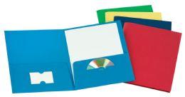 125 Bulk Tops Leatherette Two Pocket Portfolio, Assorted Colors, 25 Pack