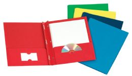 125 Bulk Tops Leatherette Two Pocket Portfolio, Fasteners, Assorted Colors, 25 Pack