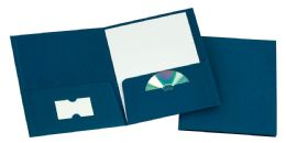 125 Bulk Tops Leatherette Two Pocket Portfolio, Navy, 25 Pack