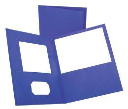 125 Bulk Tops Leatherette Two Pocket Portfolio, Purple, 25 Pack