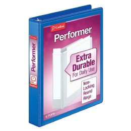 "12 Bulk Cardinal Performer Clearvue Round Ring Binder, 1"" Blue"