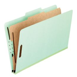 "5 Bulk Classification Folders - Standard, 1 Divider, 2"" Embedded, Lgl, Light Green, 10/bx"
