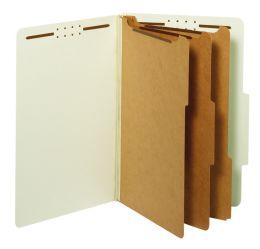 5 Bulk Classification Folders, Standard, 3 Dividers, Embedded Fasteners, 2/5 Cut Tab, Light Green, Legal, 10/bx, 5 Bx/ct