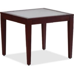 Bulk Lorell Glass Top Mahogany Frame Table