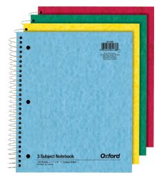 24 Bulk Tops Oxford 3 Subject Notebook, 11 X 8.872, College Ruled, Assorted, 150 Sheets