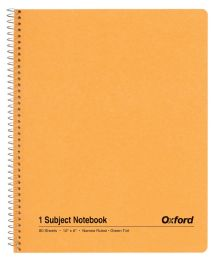 "48 Bulk Tops Oxford Single Wire Notebook, 10"" X 8"", 1 Subject, Kraft Cover, 80 Sheets, Narrow Ruled, Greentint"