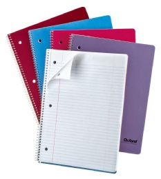 48 Bulk Tops Oxford Single Wire Notebook, 11 1/2 X 8 1/2, 1 Subject, Assorted Covers, 80 Sheets, College Ruled