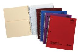 24 Bulk Tops Oxford Single Wire Notebook, 11 X 8 7/8, 2 Subject, Assorted Neon Covers, 100 Sheets, College Ruled