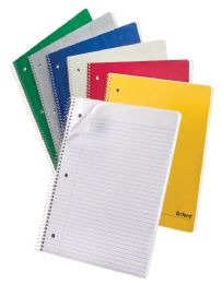 4 Bulk Tops Oxford Single Wire Notebook, 11 X 8-7/8, 1 Subject, Assorted Covers, 100 Sheets, College Ruled, Set Of 6