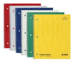 8 Bulk Tops Oxford Single Wire Notebook, 11 X 8-7/8, 1 Subject, Assorted Covers, 70 Sheets, College Ruled, 6-Pack