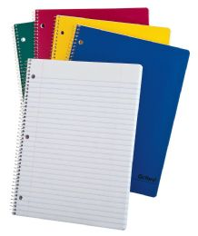 "48 Bulk Tops Oxford Single Wire Notebook, 11"" X 8 1/2"", 1 Subject, Assorted Kraft Covers, 100 Sheets, Wide Ruled, White"