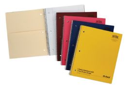 "24 Bulk Tops Oxford Single Wire Notebook, 11"" X 8 7/8"", 1 Subject, Assorted Neon Covers, 100 Sheets, College Ruled, White"