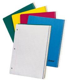 "24 Bulk Tops Oxford Single Wire Notebook, 11"" X 8 7/8"", 1 Subject, Left Hand Open, Assorted Kraft Covers, College Ruled, 80 Sheets, White"