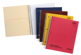 "24 Bulk Tops Oxford Single Wire Notebook, 11"" X 8 7/8"", 3 Subject, Assorted Covers, 120 Sheets, College Ruled"