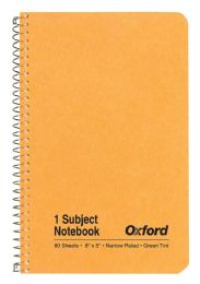 "48 Bulk Tops Oxford Single Wire Notebook, 8"" X 5"", 1 Subject, Kraft Cover, 80 Sheets, Narrow Ruled, Greentint"