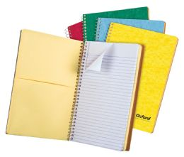 "24 Bulk Tops Oxford Single Wire Notebook, 9 1/2"" X 6 3/8"", 3 Subject, Assorted Covers, 120 Sheets, College Ruled"