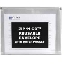 Bulk C-Line Zip 'n Go Envelope With Outer Pocket, Clear, 3/pk, 48117