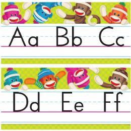 60 Bulk Trend Sock Monkeys Alphabet Line Standard Manuscript Bulletin Board Set
