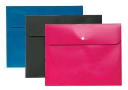 8 Bulk Two Pocket Folder With Snap Closure, 3 Pack (blue, Pink, Gray)