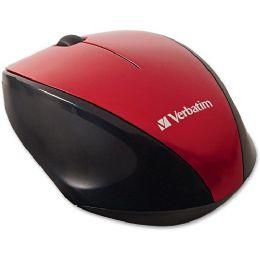 Bulk Verbatim Wireless MultI-Trac Blue Led Optical Mouse - Red