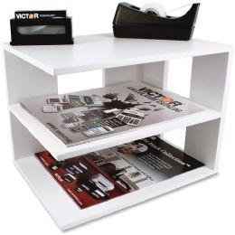 Bulk Victor Pure White Collection Wood Corner Shelf