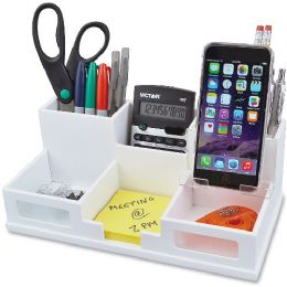Bulk Victor Pure White Collection Wood Desk Organizer With Smart Phone Holder
