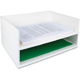 Bulk Victor Pure White Collection Wood Stacking Letter Tray