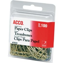 Bulk Acco Gold Tone Paper Clips