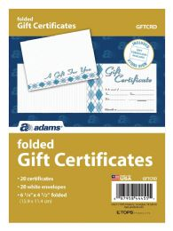 8 Bulk Adams Card, Folded Gift Certificate, 20 Cards And Envelopes Per Pack